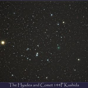 The Hyades and Comet Kushida